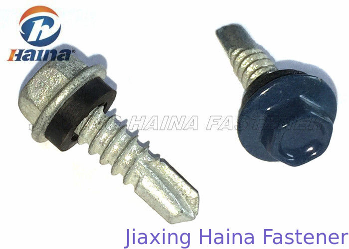 Roofing Tek self drilling hex head screws With EDPM Washers , Mechanical Plating AS3566 Class 3 Surface