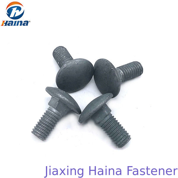 Hot Dip Galvanized Mushroom Head Bolt , Coach Bolts For Electric Tower